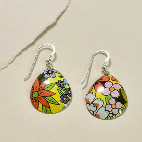 Vintage Tin Retro Teardrop Earrings by Saffron Creations