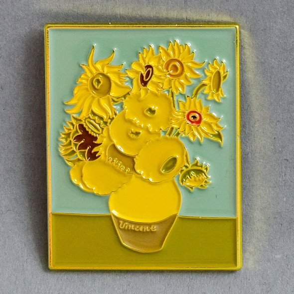 van Gogh Sunflowers framed Enamel Pin