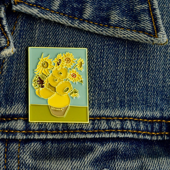 van Gogh Sunflowers framed Enamel Pin, on denim jacket