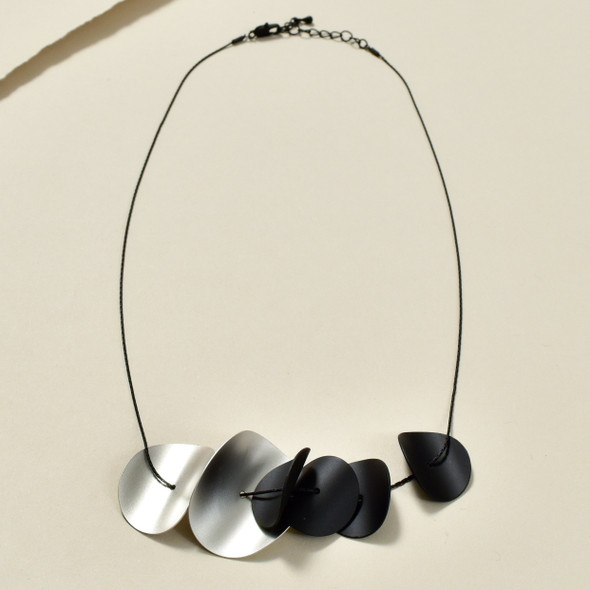 Matte Black Curved Disks Necklace