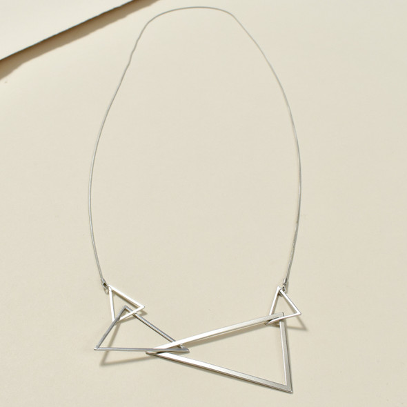 Cascading Silver Triangles Necklace