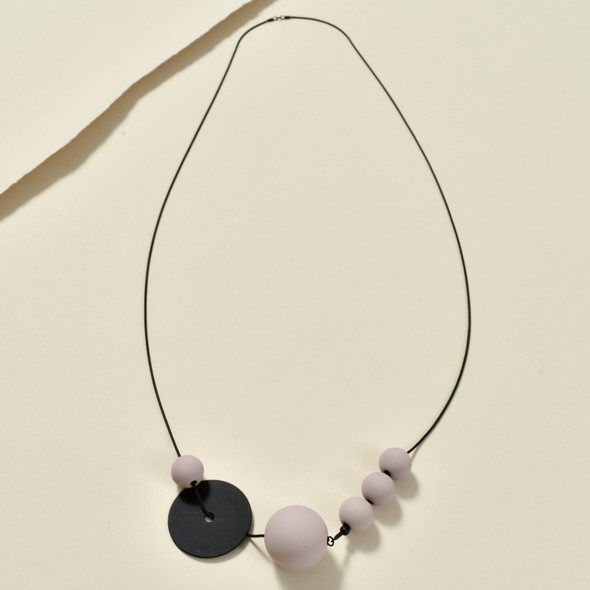 Long Black and Blush Astro Necklace