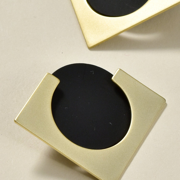 Two-Piece Earrings Gold with Matt Black Circle close up