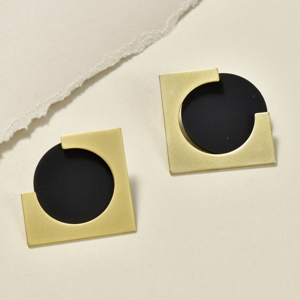 Two-Piece Earrings Gold with Matt Black Circle