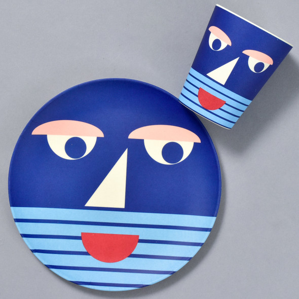 Bamboo Face Plate and cup in Blue, sold separately