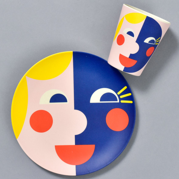 Bamboo Face Plate and Cup, in Yellow & Blue, sold separately