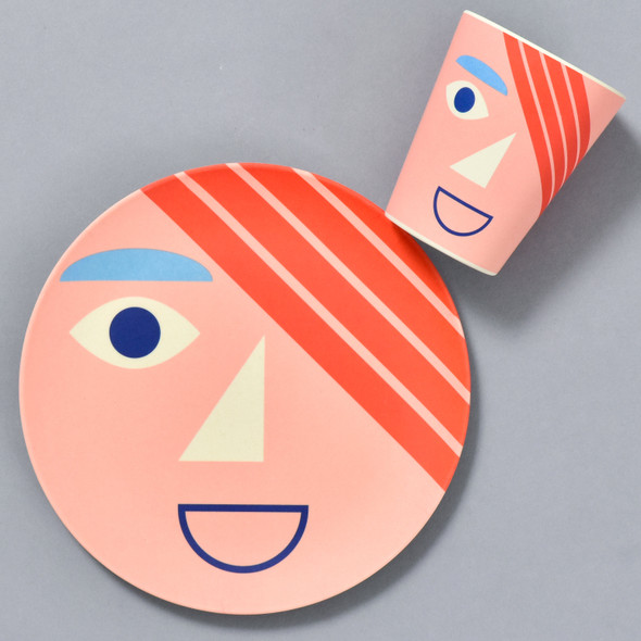 Bamboo Face Plate and Cup, in coral, sold separately