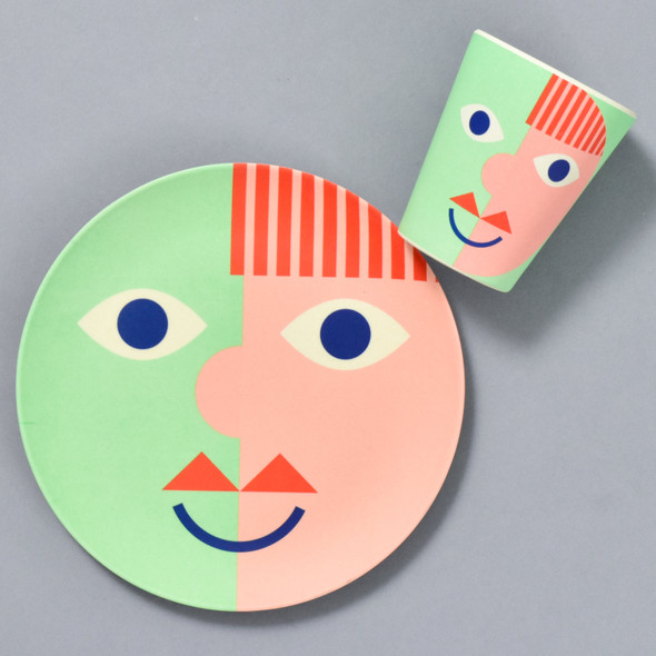 Bamboo Face Plate and Cup in Green, sold separately