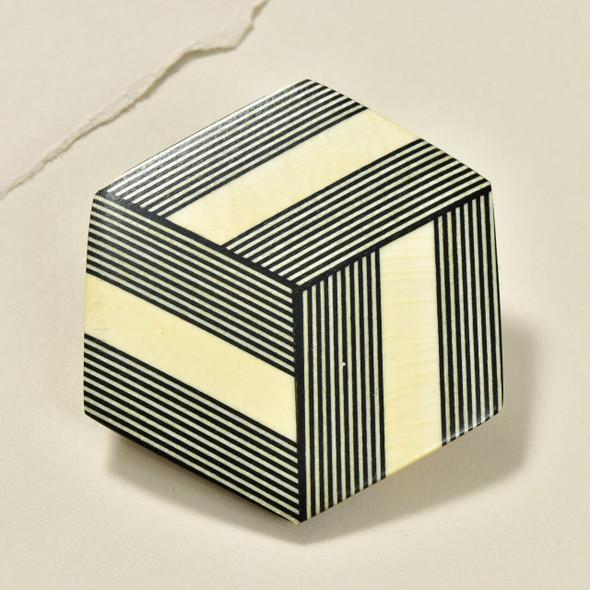 Hexagonal Rare Wood Pins, Black with Light Wood