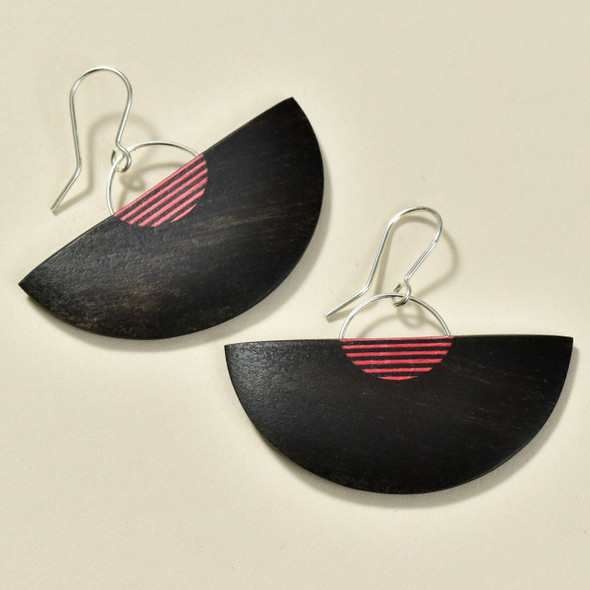 Half Moon Rare Wood Dangle Earrings, Black with Red Wood