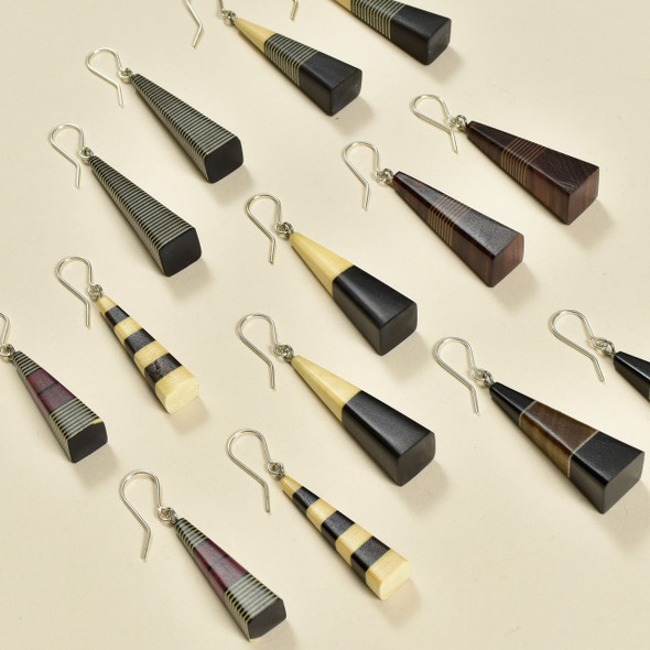 Long Pyramid Rare Wood Earrings in a multitude of styles
