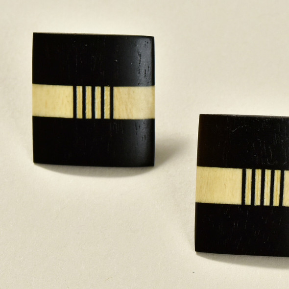 Rare Wood Square Earrings Mid Size, Black with Light Wood