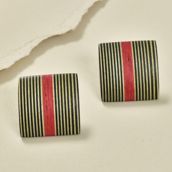 Rare Wood Square Earrings Mid Size, Red Center Wood