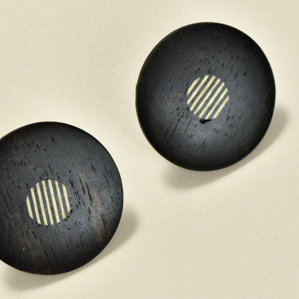 Round Ebony Wood Earrings