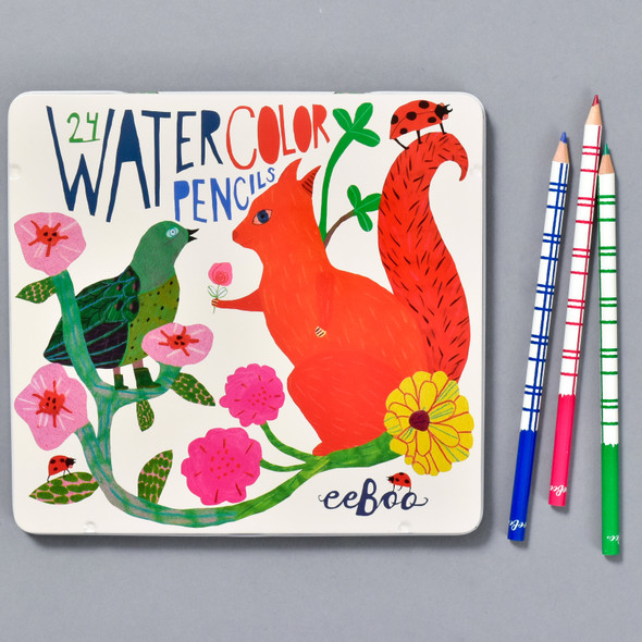 eeboo squirrel and bird watercolor pencil set, front of tin and pencils