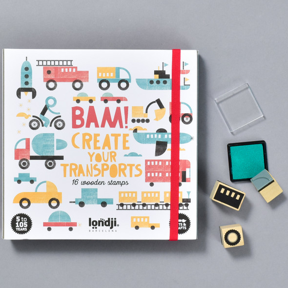 BAM! CREATE YOUR TRANSPORTS set, front with contents