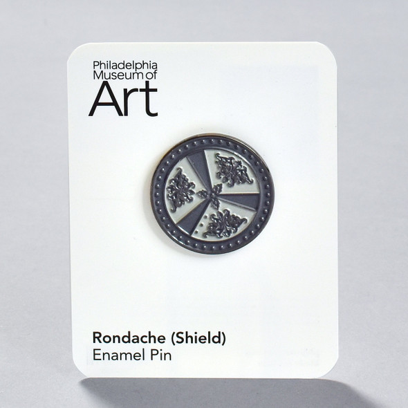Rondache (Round Shield) Enamel Pin, on backing card
