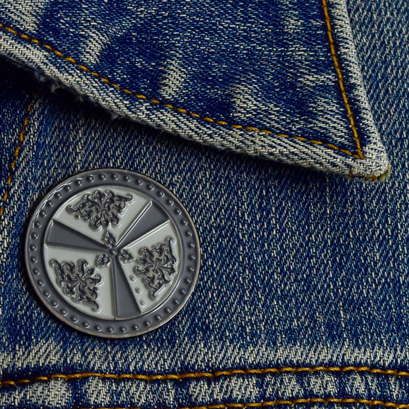Rondache (Round Shield) Enamel Pin on denim jacket