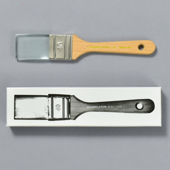 Paintbrush Magnifying Glass Natural, box and magnifying glass