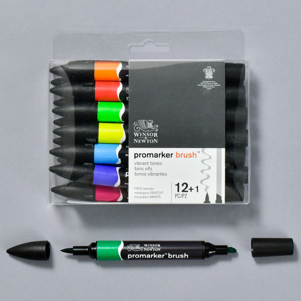 Winsor Newton Promarker Brush Set, front of package with marker / brush