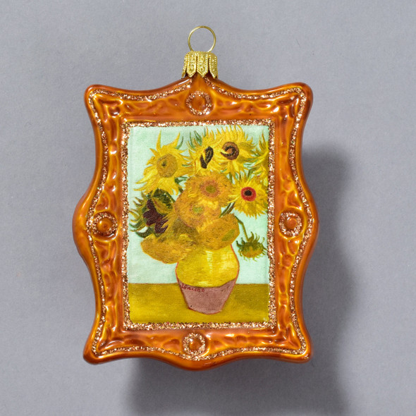 Vincent van Gogh Sunflowers 1889 Framed Polish Glass Ornament