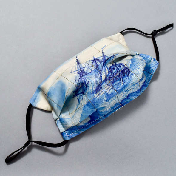 """""""Marine"""" Tile Panel Face Mask by Ana Thorne; expanded pleats with ear straps shown"""