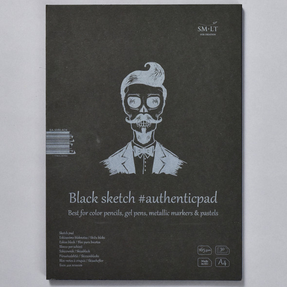 SMLT Authentic Sketch Pad Black in Folder, front