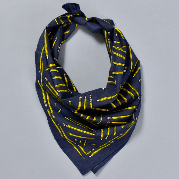 Yellow Pencil Navy Bandana, tied