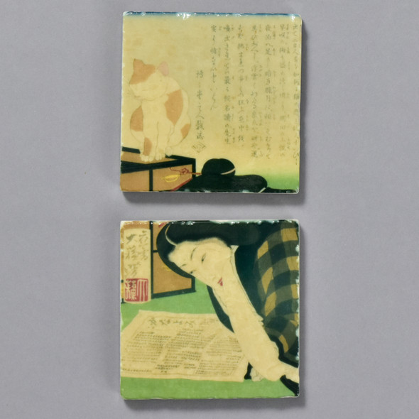 Yoshitoshi: I Want to Cancel My Subscription Tile Pair by The Painted Lily, two tiles