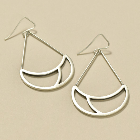 Sterling Silver Basket Drop Lines Earrings