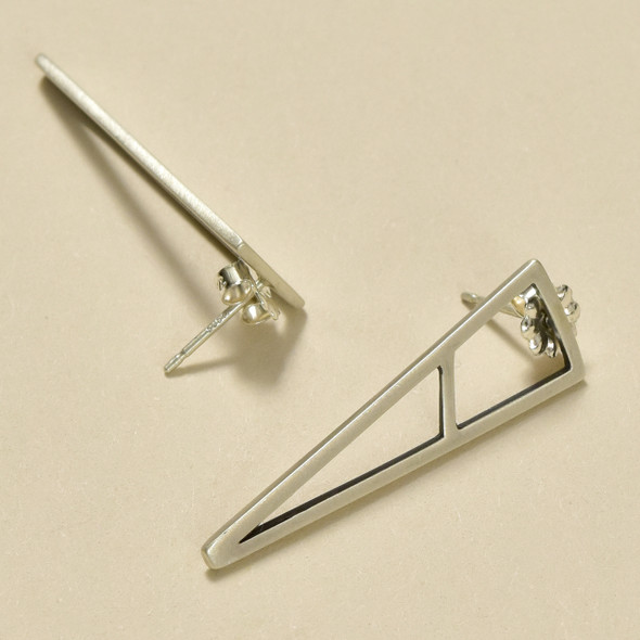 Sterling Mini Triangle Lines Earrings