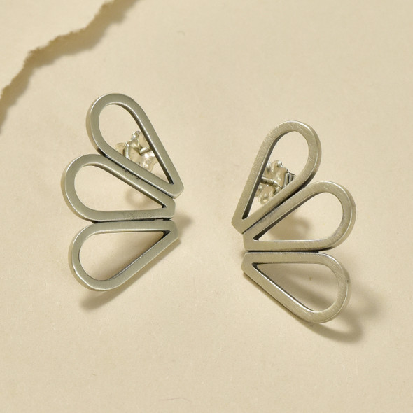 Sterling Silver Mini Tri-Drop Post Earrings