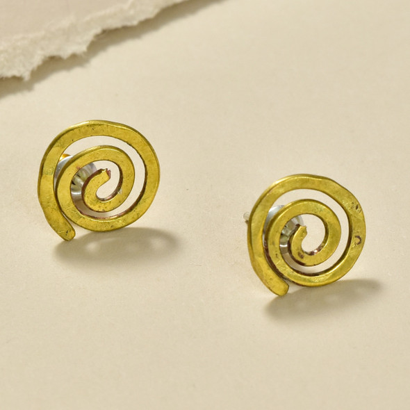 Swirl Bronze Stud Earrings by Selah