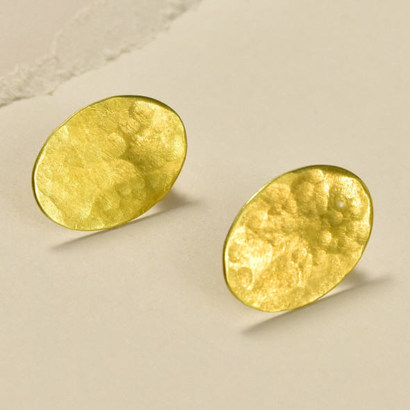 Oval Bronze Stud Earrings by Selah