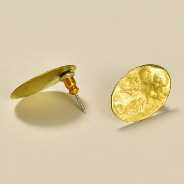 Oval Bronze Stud Earrings by Selah, showing front and post