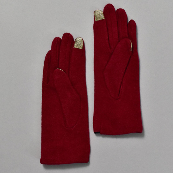 3 Button Burgundy Wool Blend Gloves back