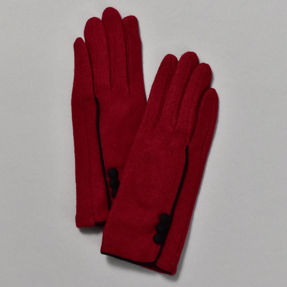 3 Button Burgundy Wool Blend Gloves front