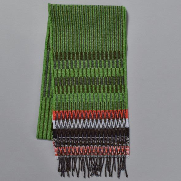 Green Chevron Edge Lambswool Scarf