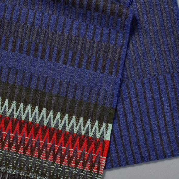 Blue Chevron Edge Lambswool Scarf, close up