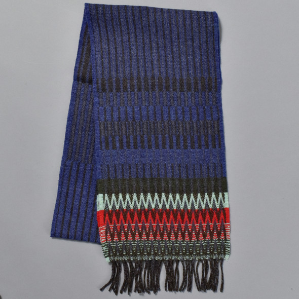 Blue Chevron Edge Lambswool Scarf