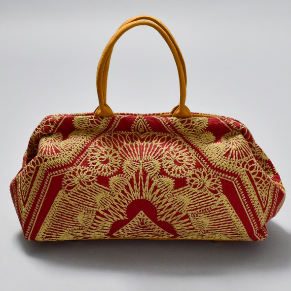 Embroidered Sophia Frame Bag in Lacery Red