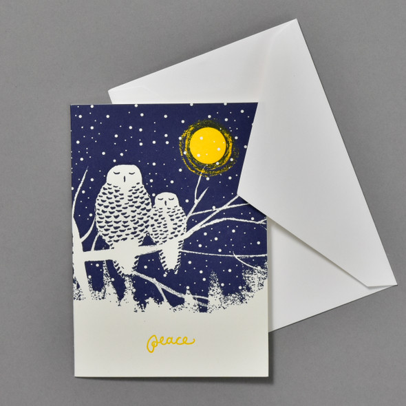 Peaceful Owls Holiday Notecard Set, card and envelope