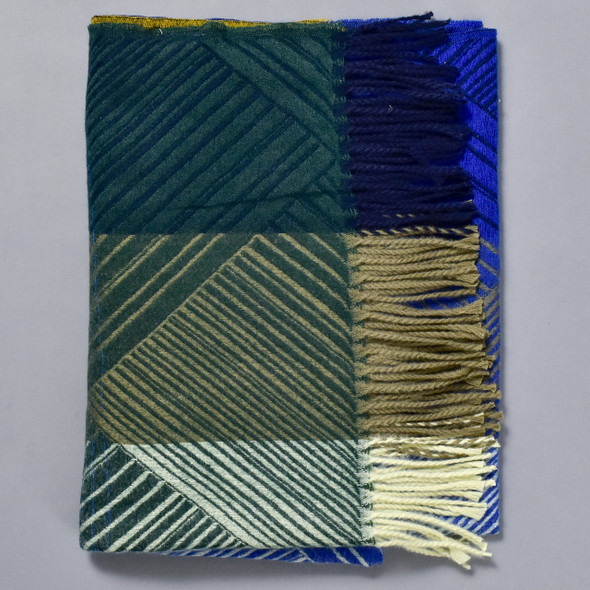Blue, Green and Mustard Crosslines Scarf