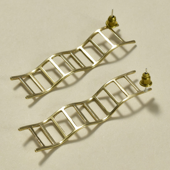 Wavy Ladders Brass Earrings; detail, laying diagonally