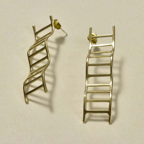 Wavy Ladders Brass Earrings; laying down