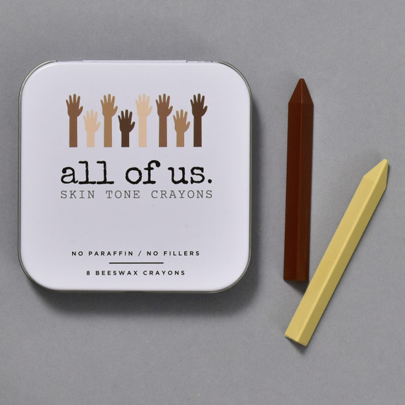 ALL OF US SKIN TONE CRAYONS SET of 8, front of tin and crayons