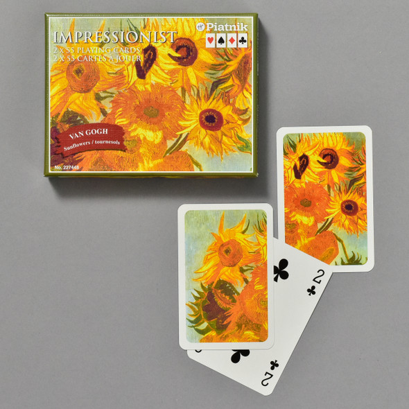 Vincent van Gogh Sunflowers Bridge Set, front of box and cards