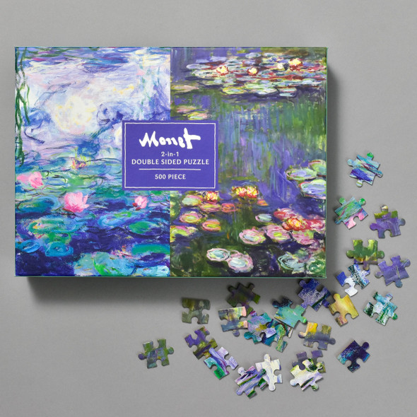 Monet Double Sided Puzzle, front of box with pieces