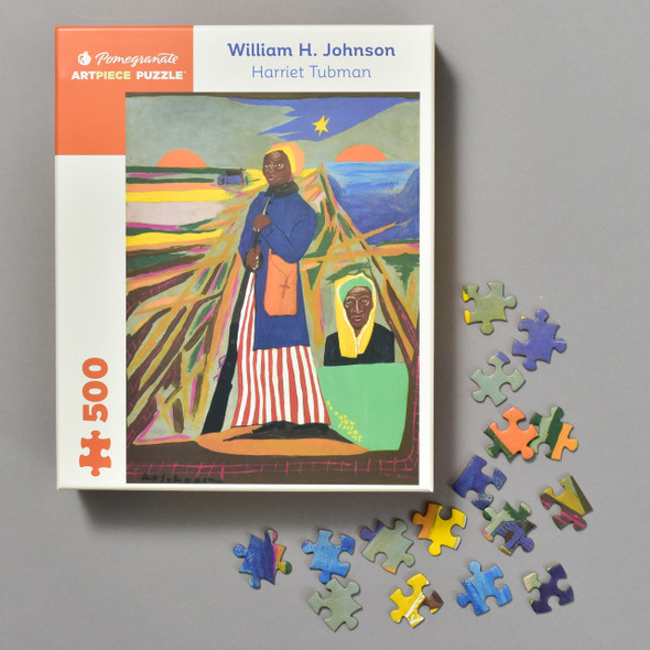 Harriet Tubman Puzzle by William H. Johnson, front of box with pieces