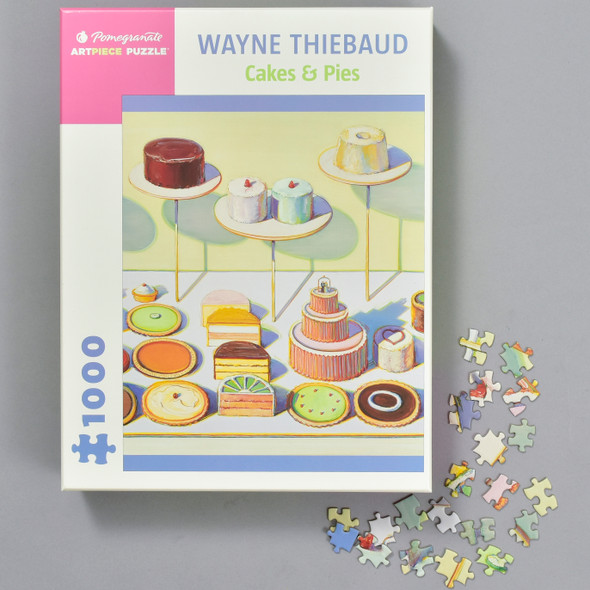 Wayne Thiebaud: Cakes & Pies Puzzle, box with puzzle pieces
